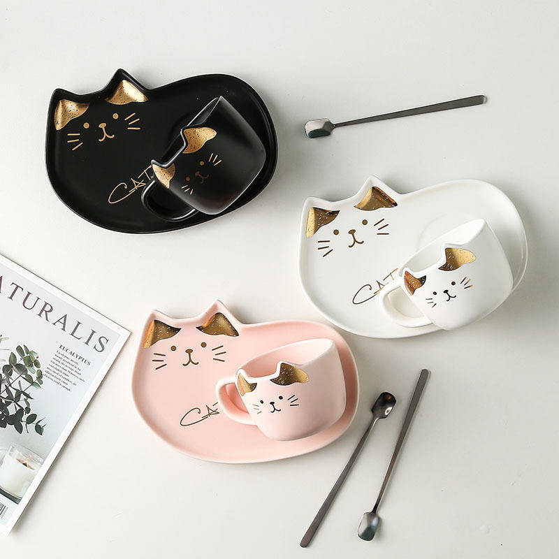 Cute Cat Ceramic Cup with Tray Set Porcelain Breakfast Set Coffee Mug with Dessert Plate Set