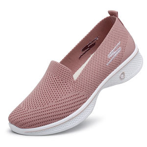 Fly knit casual shoes for ladies' flat shoes with breathable and comfortable upper and soft sole