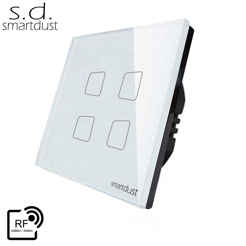 Smartdust EU 4 Gang 1 Way Glass Panel Touch Smart Home RF Wireless Remote Controls Light Switch 220V