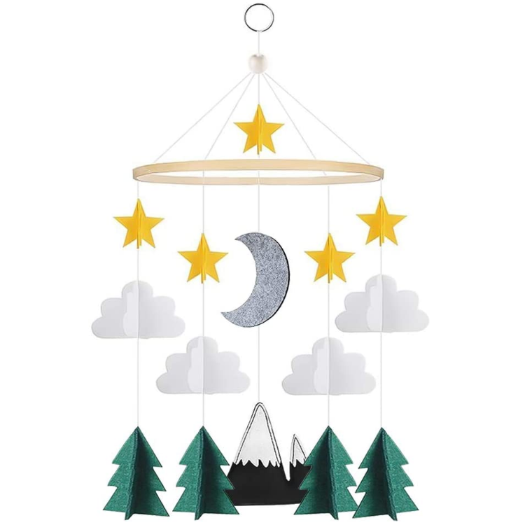High quality Felt Baby Mobile, Clouds, Mountains & Trees Hanging Moon Toys, Nursery Baby Boys& Girls Room Decor