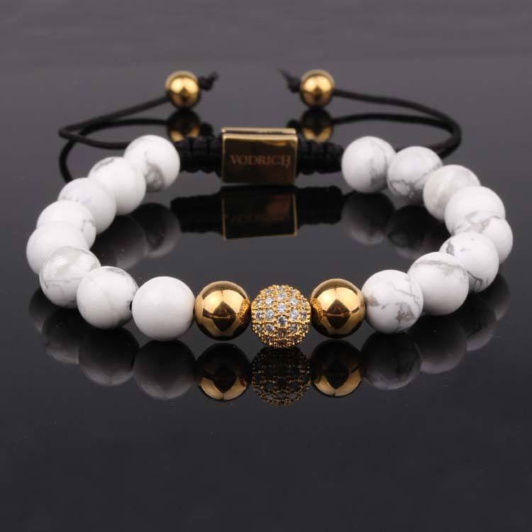 Custom logo natural howlite stone white CZ disco ball macrame bracelet men women