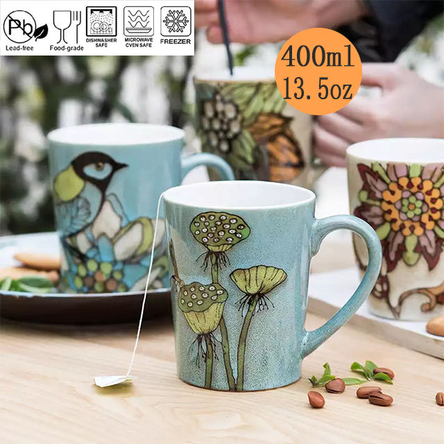 2021 Hot Vintage Decorative Pattern Ceramic Coffee Milk Tea Mug With Handle For Gift