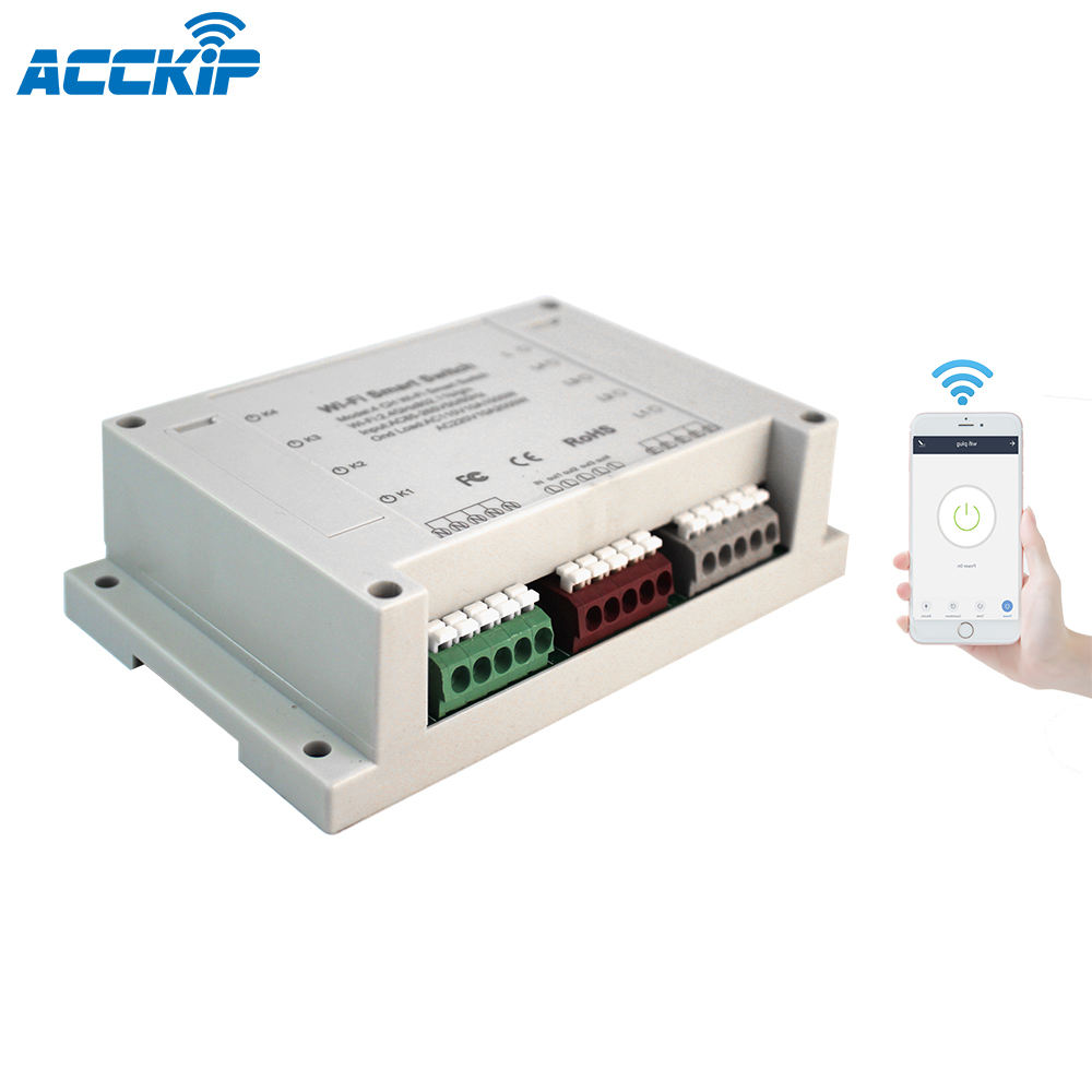 CE-RED EMC LVD Rohs2.0 approved Powered by Tuya APP Controlled Wifi Connect Smart Switch 4CH - 4 Channels Circuit breaker