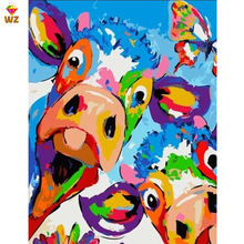 Fezrgea Framed Pictures Diy Painting By Numbers Oil Painting Pictures Of Animals Oil Paintings For Home Decoration 40x50cm