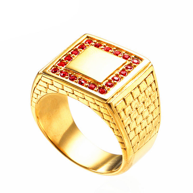 Stock Ready Quality Stainless Steel Square Finger Gold Men Ring