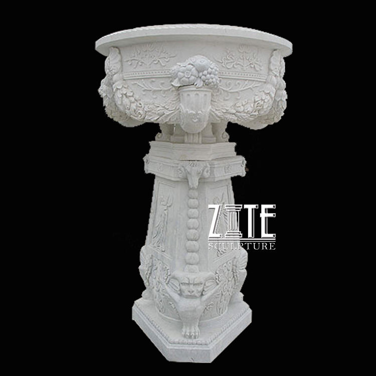 Hand carved garden outdoor natural stone marble flowerpot planter