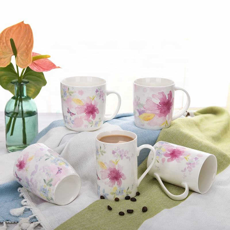 Customized Ceramic Mugs Spring Series Colorful Mugs mit Flower design