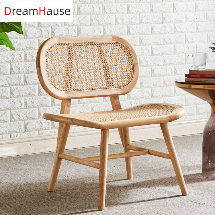 Dreamhause High Quality Nordic Solid Wood Single Rattan Chair Balcony Patio Living Room Sofa Set Cafe Shop Dining Chair Designer