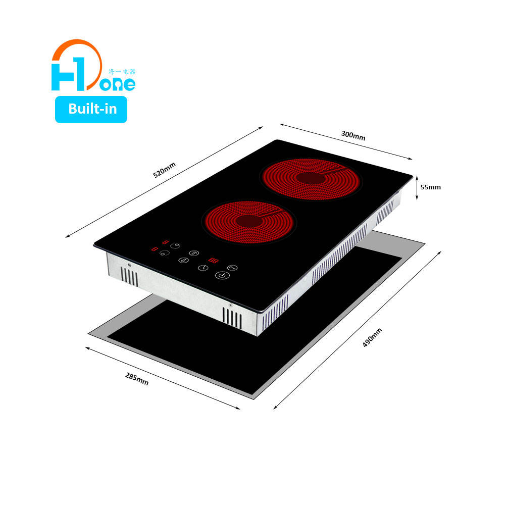 H-One 2 Burner Ceramic Cooktop Domino Hobs Infrared Cooking Stove Ceramic Cooker With Touch Display 8320