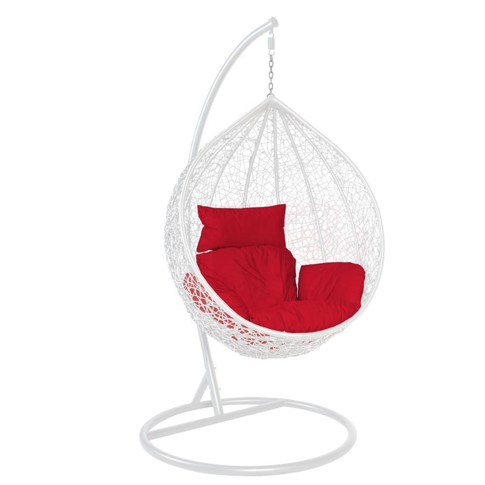 Colorful Outdoor Garden Wicker Hanging Swing Chair with Cushion Metal Stand Egg Basker