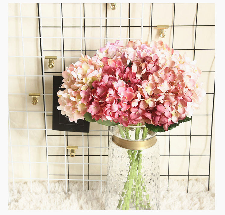Wholesale Colorful Wedding Home Decoration Artificial Hydrangea Flowers Fake Flowers Bouquet