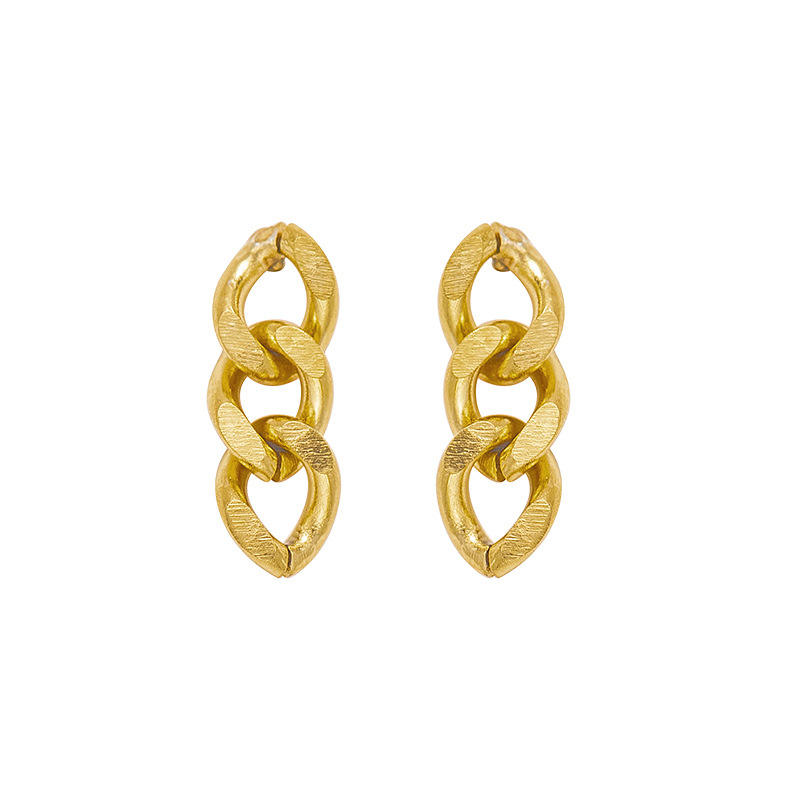 New Arrival Twist Braid Chain Stainless Steel Stud Earrings For Women Cool Girls Bijoux Jewelry Wholesale