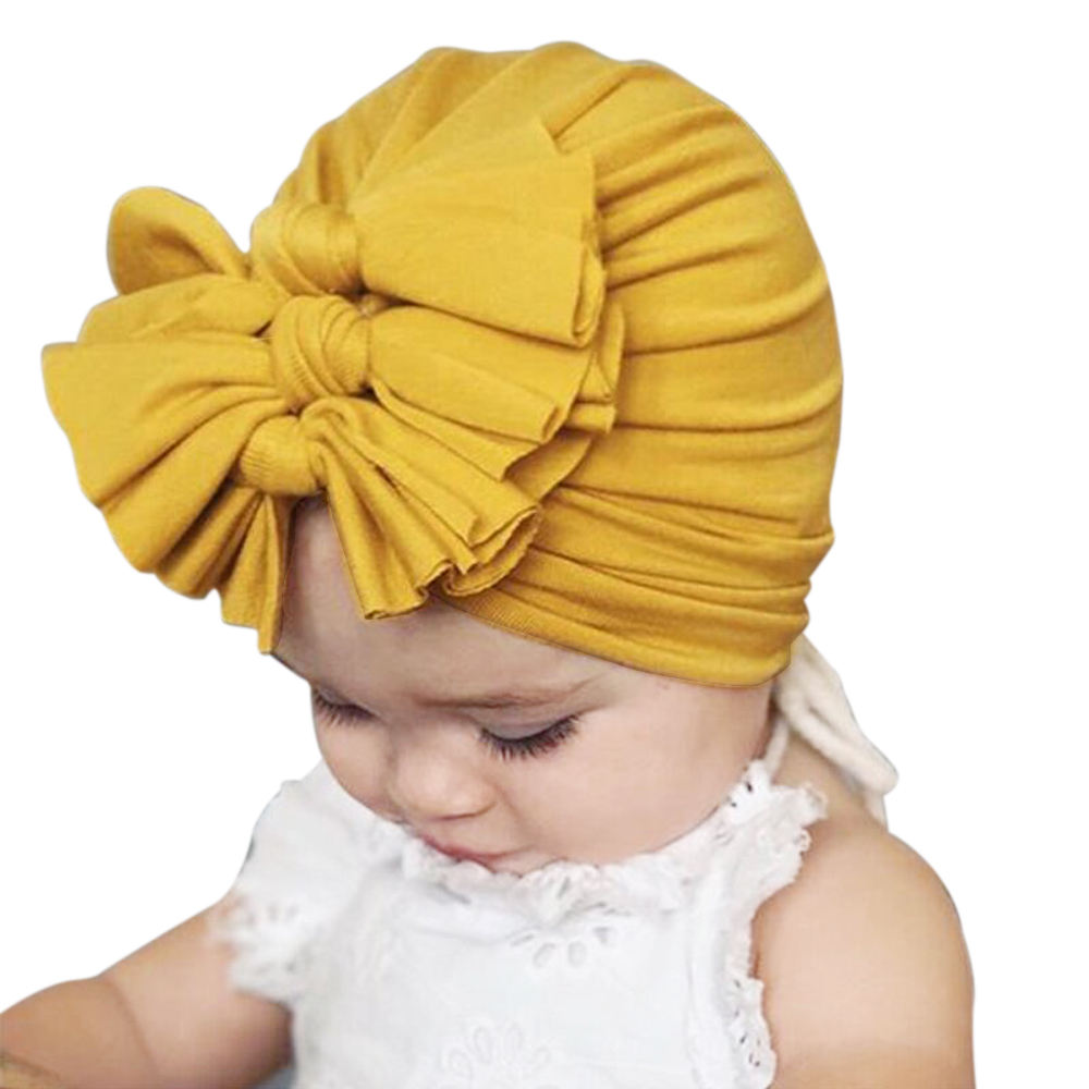 lyc-2835 Kids Girls Baby Toddler Turban Knotted Bow Hat Headband Hair Band Headwear