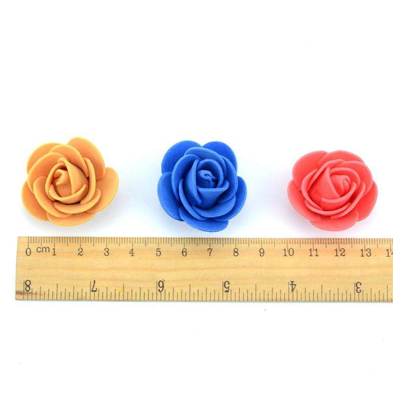 3.5cm Foam PE Rose Artifical flowers Heads Roses Teddy Bear DIY Wedding Flower Accessories Bridal Hair Clips Headbands Dress