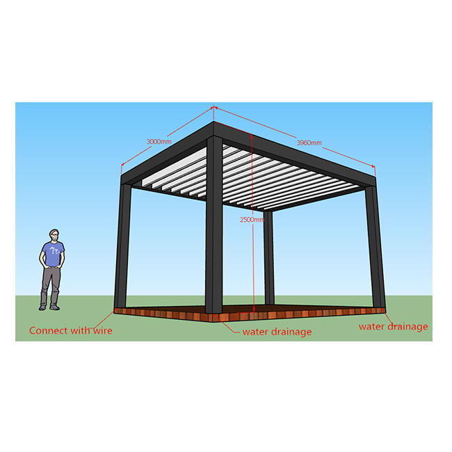 Hotsale 3 x 3.96 118 inches 156 inches Waterproof Patio Garden Deck Aluminum Pergola Louver roof Cover System