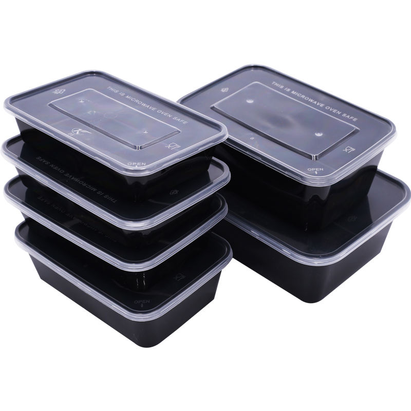 200ml~3800ml Disposable safe clear rectangular plastic microwave food packaging containers soup bowl with lid box meal
