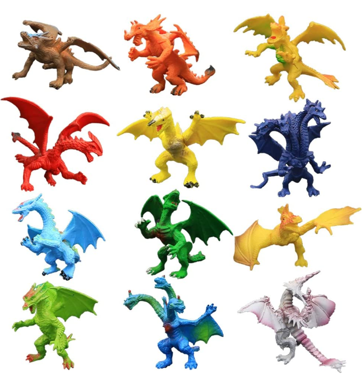 12 Piece Assortiti Realistico Drago Figura, Mini Draghi Set con il Contenitore di Regalo