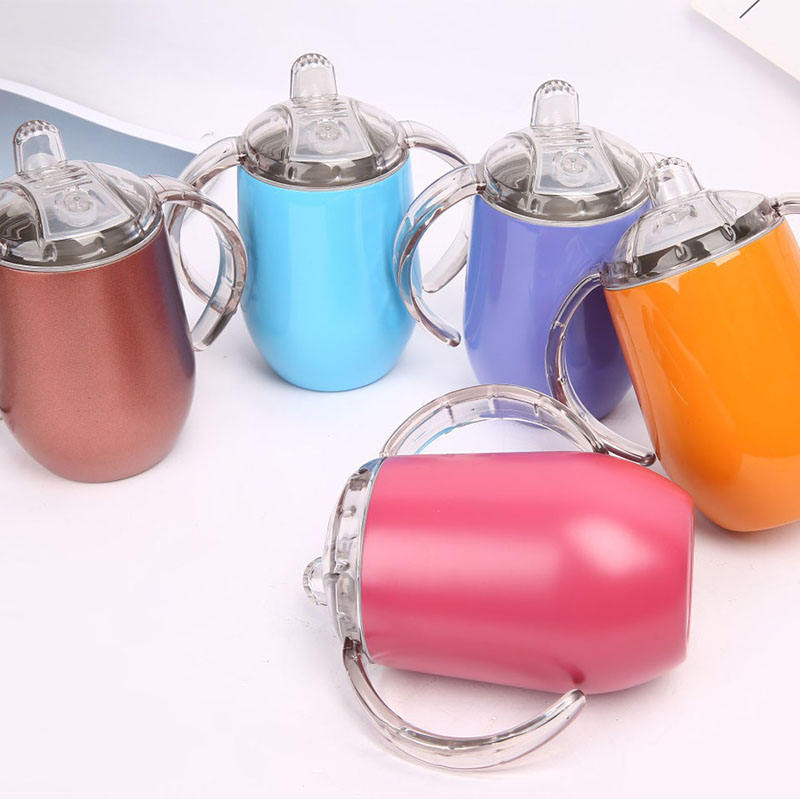 10oz stainless steel Kids tumbler with handle Double Wall Insulated children drinking Tumbler socker cup with Lid