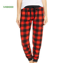 MGOO Customize Full Length Cotton Polyester Red Plaid Soft Women Pajama Pants