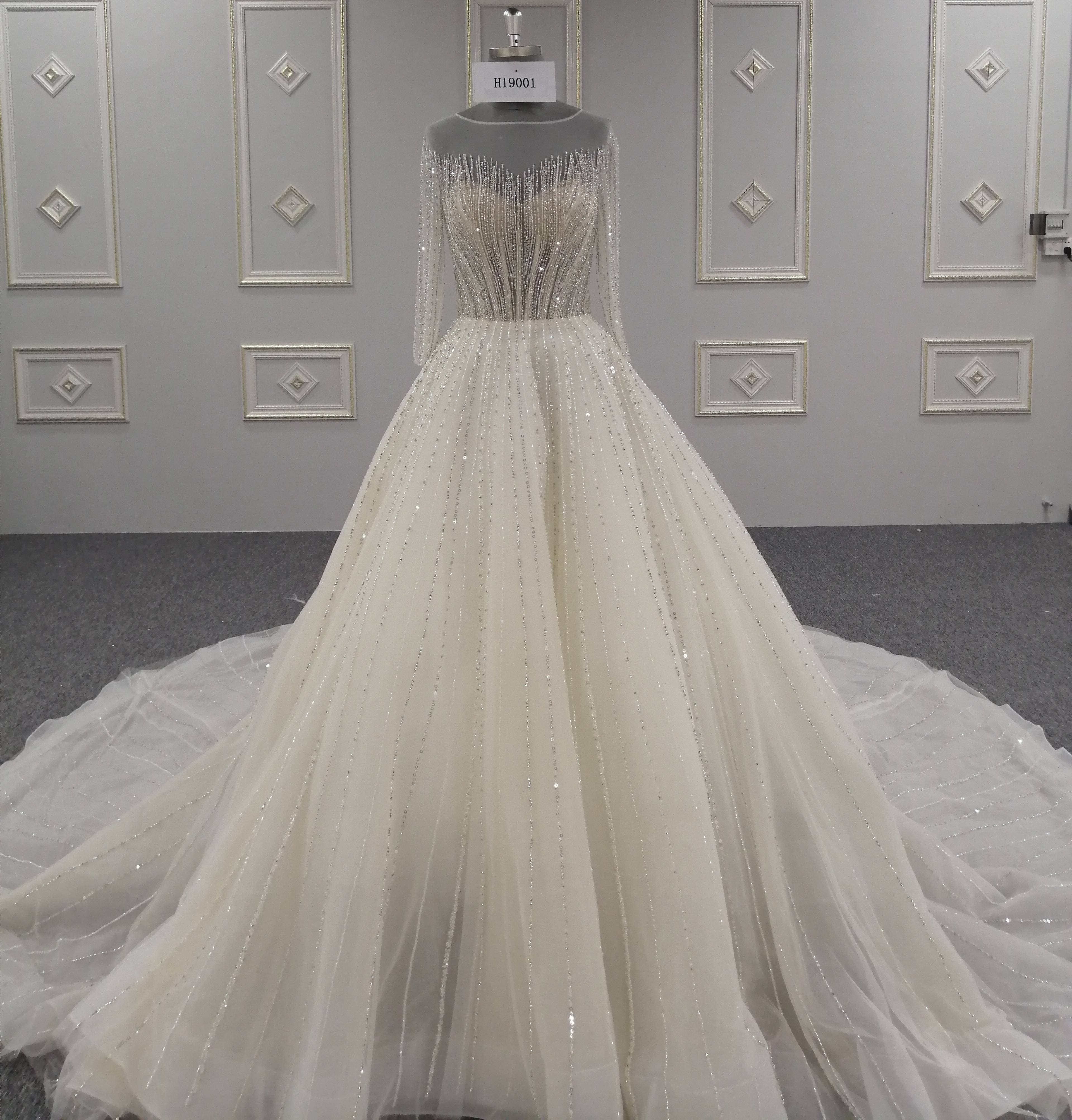 New Products Luxury Handmade Beaded Lace Wedding Dress Bridal Gown