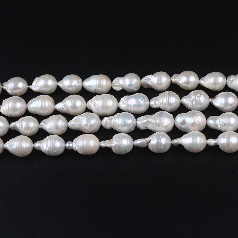 13-15mm white color screw thread drop baroque freshwater pearl beads string