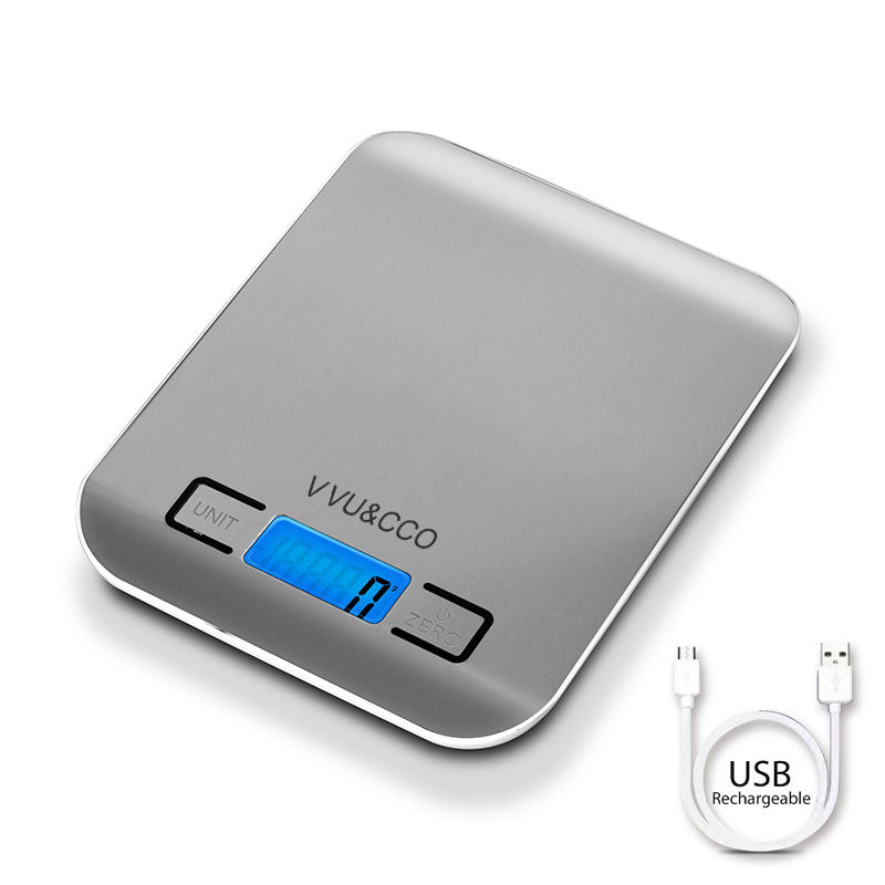 VVU&CCO USB Rechargeable Weigh Black 5Kg Weighing Electronics Food Digital Kitchen Scale With Charger