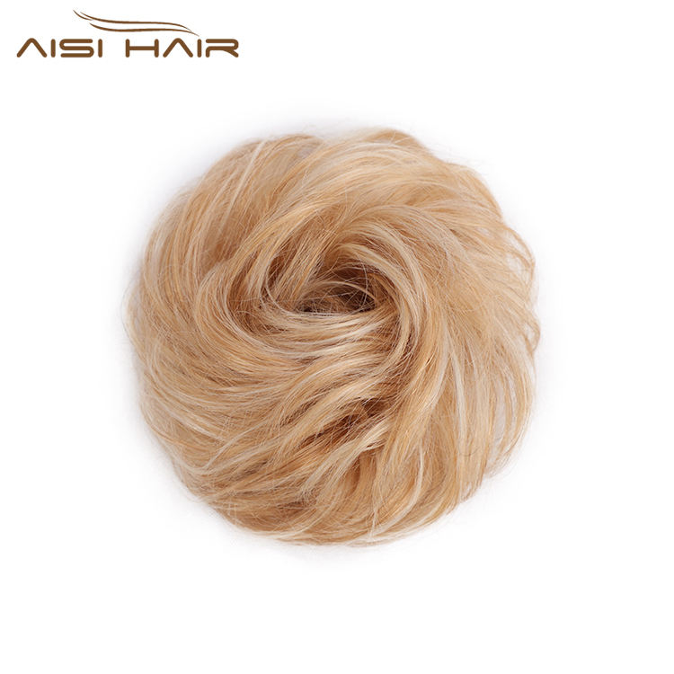 Aisi Hair Brazilian Human Hair Curly Blonde Chignon Bun Elastic Rope Rubber Band Hairpiece Clip In Extension For Black Women