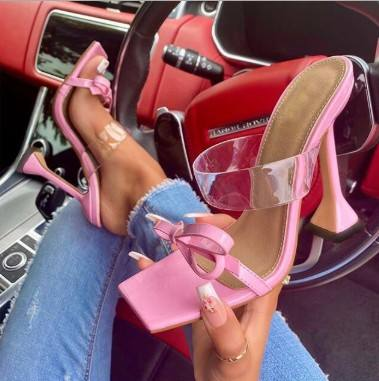 Rome new butterfly high heels square toe transparent large size cool women square heels sandals