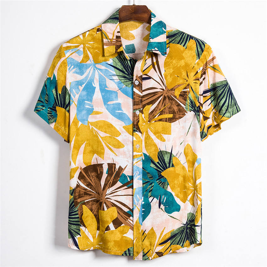 2020 Summer Men Hawaii Printed Short Sleeve Soft Beach Hawaiian Shirt