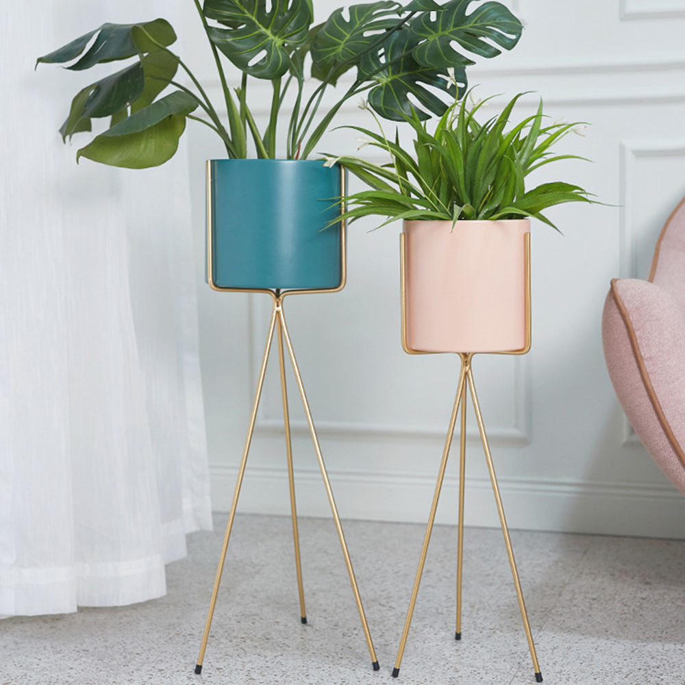 Planter Pot Modern Colorful Home Decor Gold Blue Pink Nordic Floor Indoor Nesting Rustic Metal Parisian-Style Flower Planter Pot
