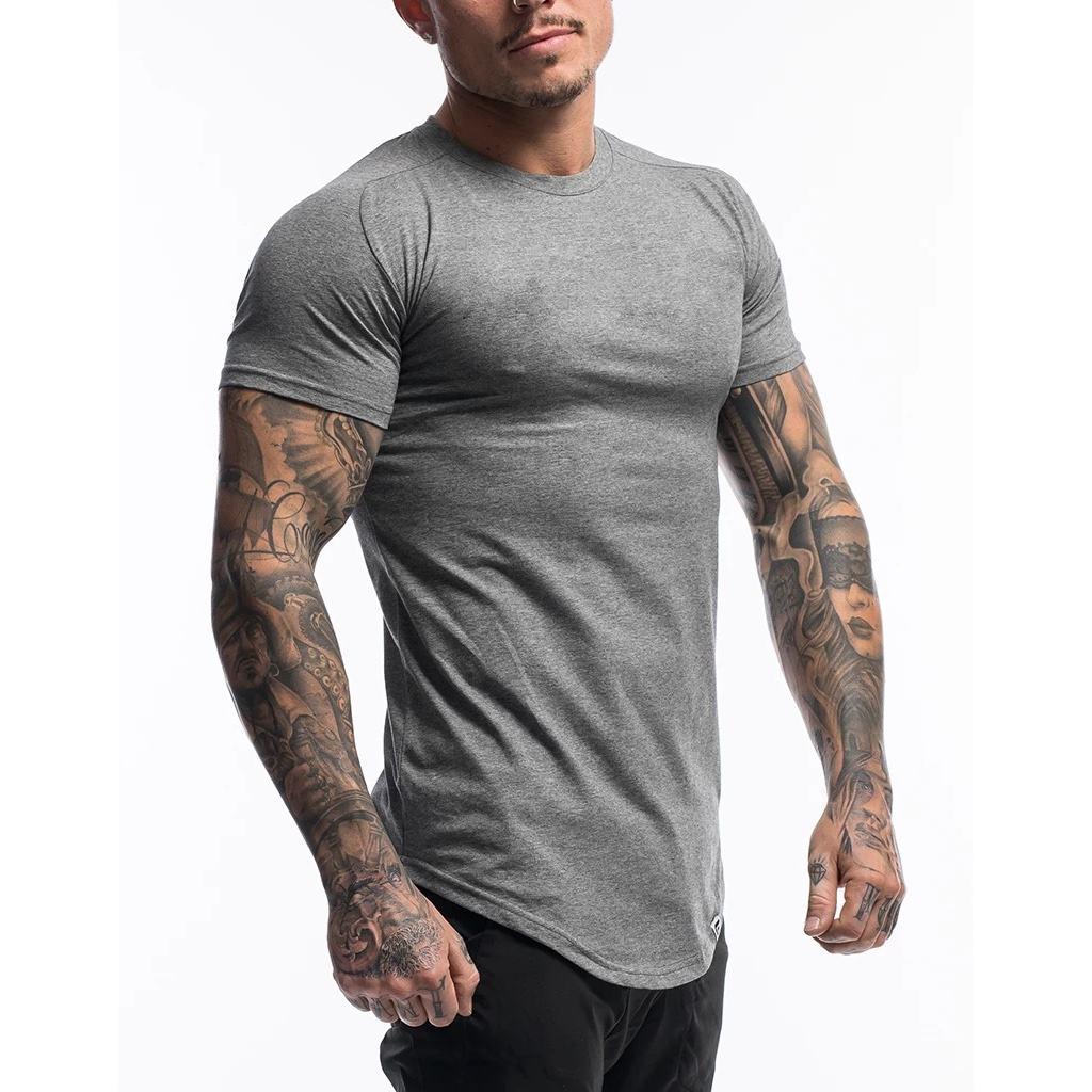 Wholesale Manufacture Custom Logo Slim Round Hem Mens Gym Singlet Workout T shirt
