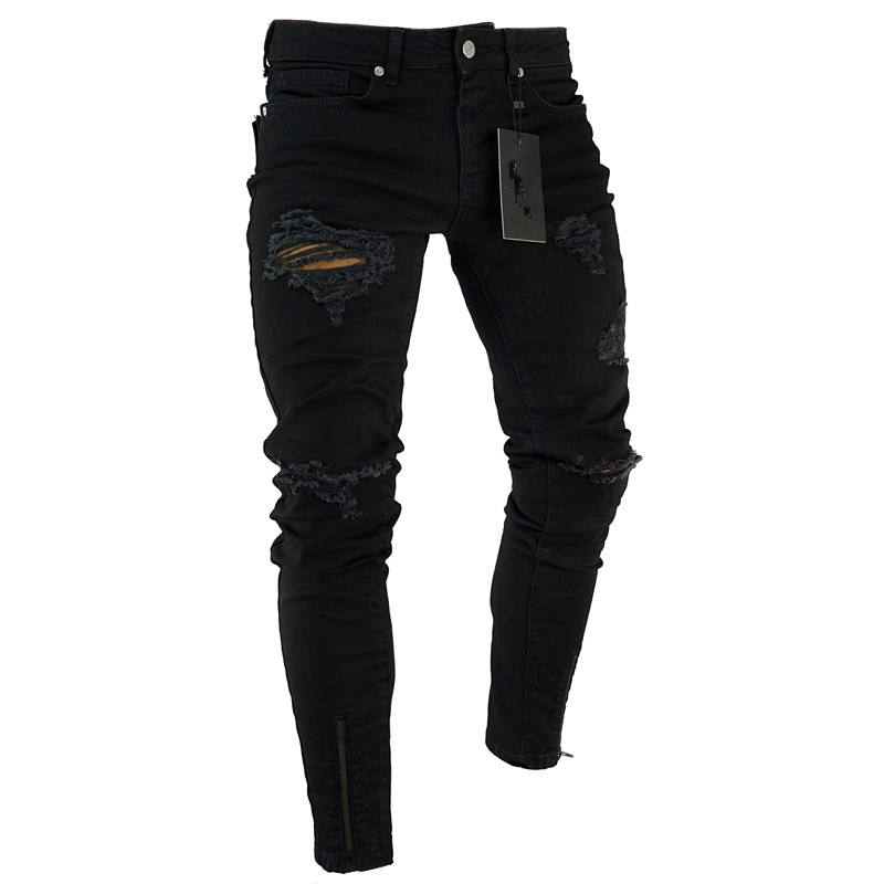 Wholesale Ripped Skinny With Hole Slim Pants Black Trousers Denim Jeans men