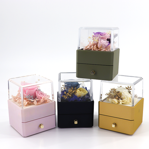 Hot sale LED Light Preserved Rose Flower Jewelry Storage box with drawer for Valentine's Day gift packaging