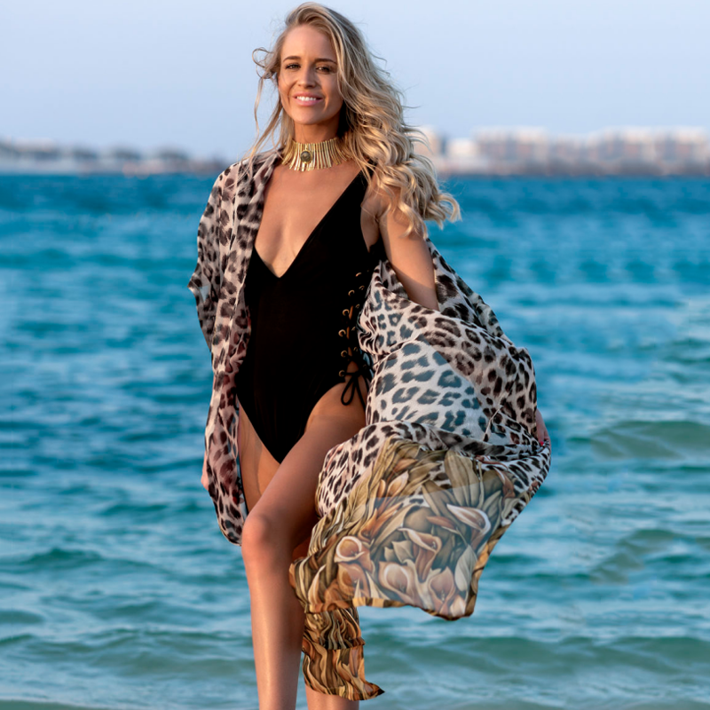 Leopard Print Beach Kimono Beach Coverup Printed Long Beach Dress