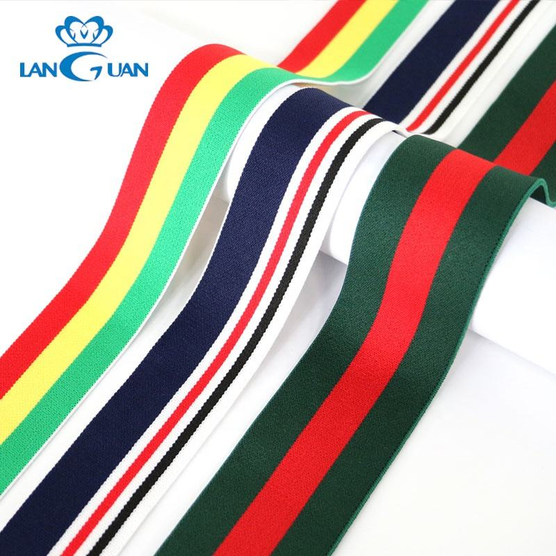 China 30mm/40mm flat polyester stripe colored elastic band