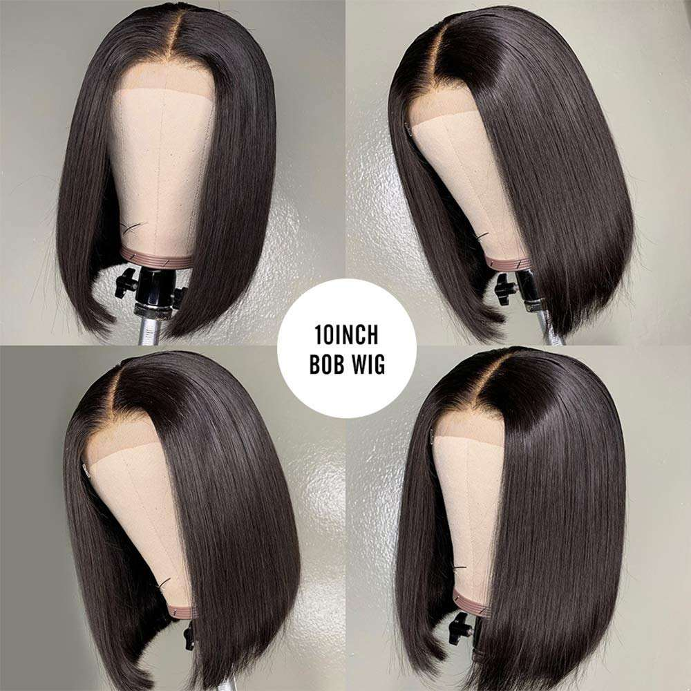 Low price 100 % full straight wig with bangs human hair bob wigs