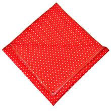 novelty custom mens red cotton pocket squares with white dots for wedding