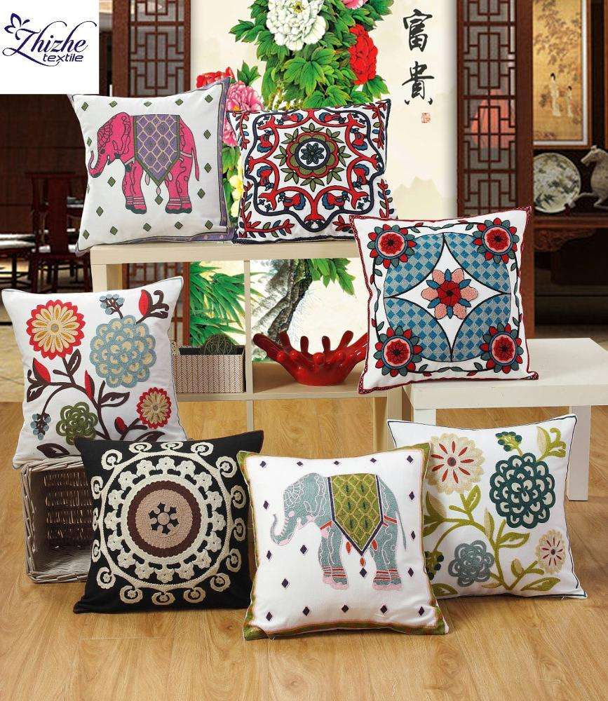 Indian style embroidered flower design cushion cover