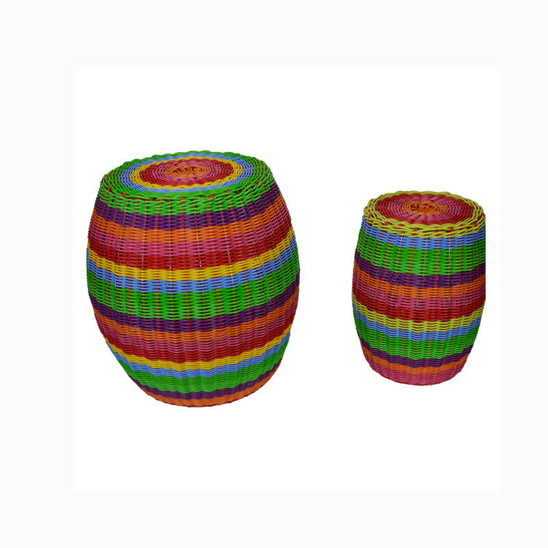 Classic Colorful Drum Shape Creative Home Stool Rattan Stools