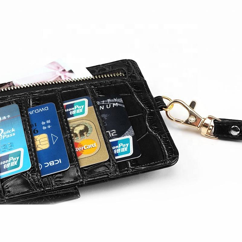 Customized logo fashion portable pu credit card holder women leather wallets