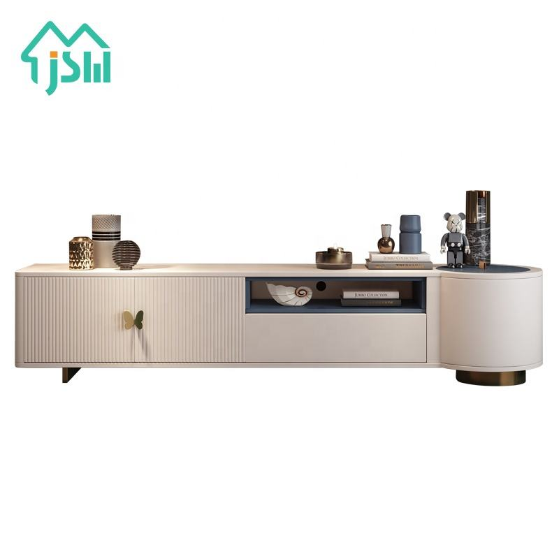 Jasiway nuevo diseño Flatette <span class=keywords><strong>muebles</strong></span> blanco de dos metros moderno soporte de <span class=keywords><strong>TV</strong></span>