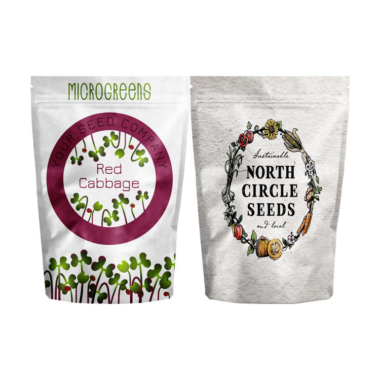 Customised Seed Paper Logo Standup Craft Bag Sizes Small Charcoal Packing Recycle Package With Ziplock