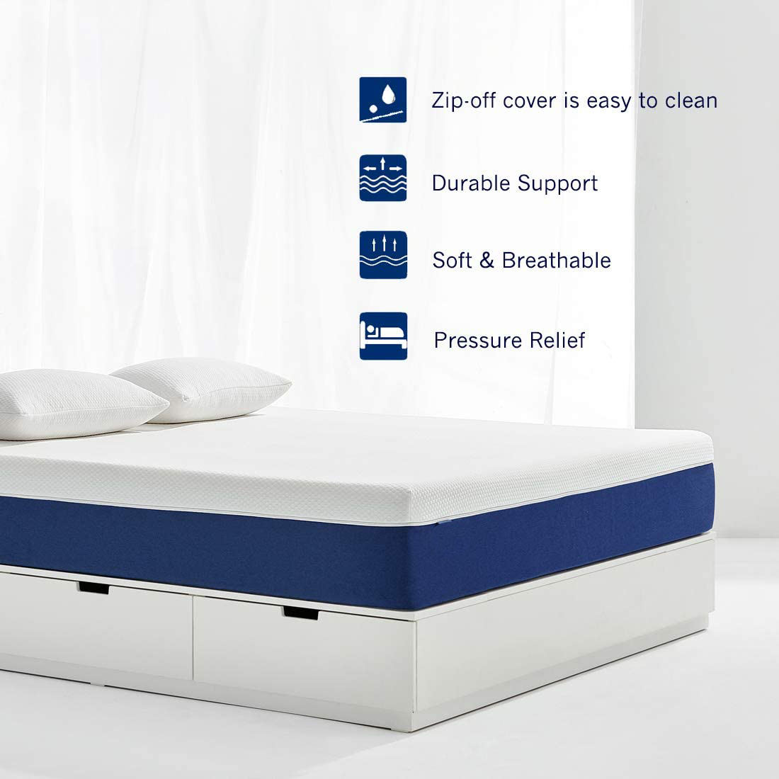 Removable Zipper Cover bamboo fabric double bed king size gel memory foam mattress for sleeping