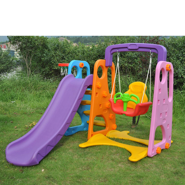New Outdoor Playground Equipment Plastic Slide And Swing Play Set Toys For Kids