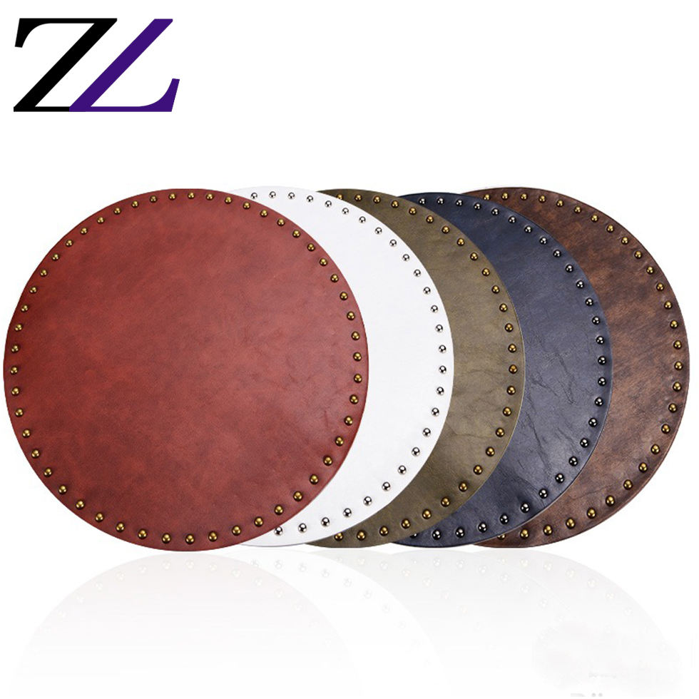 Western style fancy conference designer neoprene poker dining plate mat for restaurant beaded coasters leather table mats round