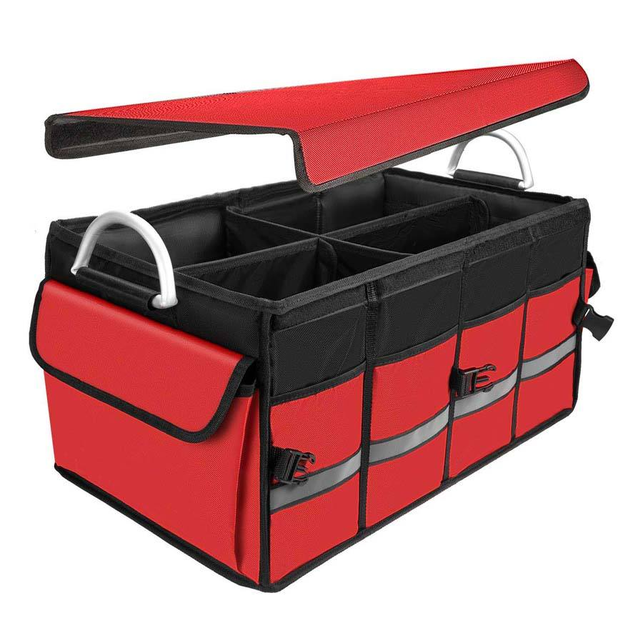 Factory Supply Heavy Duty Collapsible Car Trunk Organizer with Foldable Cover and Aluminium Handles