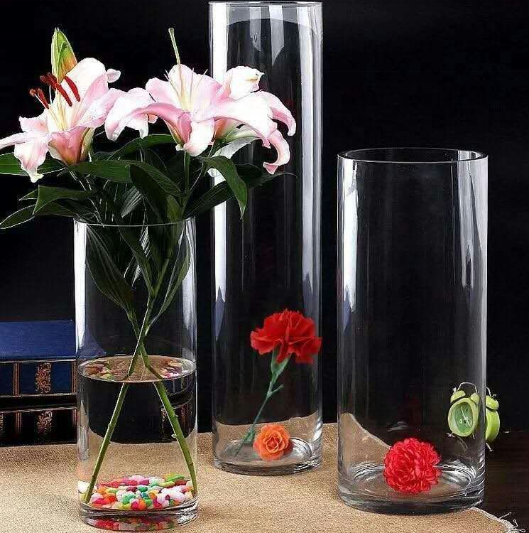 wholesale home decorative tall shape clear glass cylinder vase