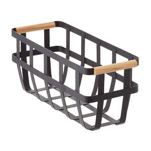 Home kitchen bathroom table organizer modern decorative black metal wire storage basket with wood handle