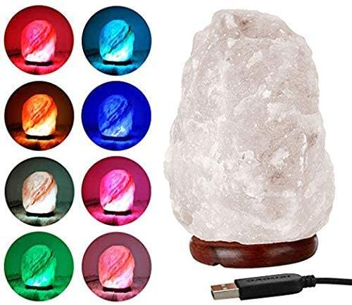Himalayan cystal pink white rock hand crafted natural salt lamp USB color changing linghts Radiation proof Air purification