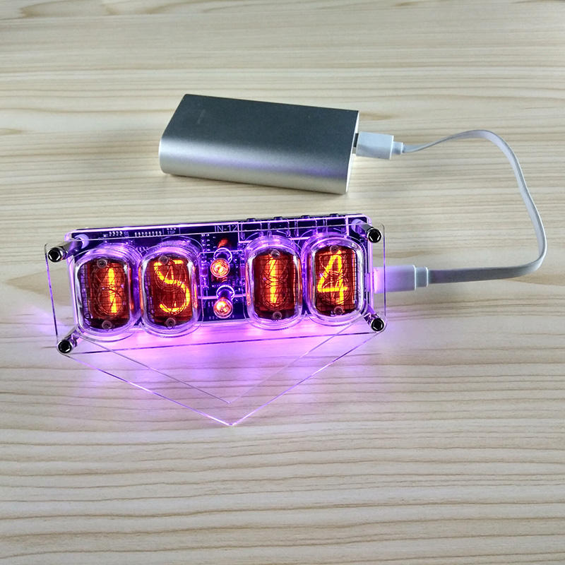 IN-12 Nixie Clock 4-Digit DS3231 Nixie Clock with Colorful LED Backlight Version (Without Tubes)